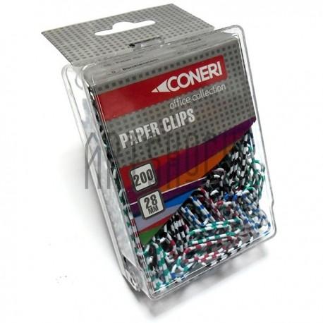 Скрепки канцелярские цветные, 28 мм., 200 штук, Coneri