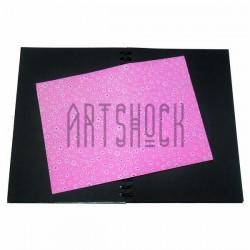 Тканевая бумага на клеевой основе (Fabric Sticker), белая ромашка на розовом фоне, 210 х 295 мм.