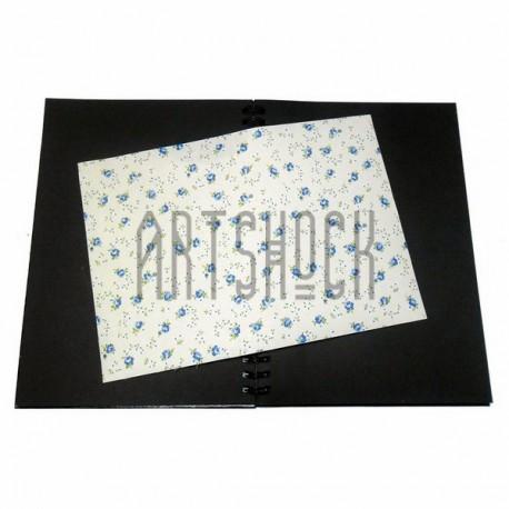 Тканевая бумага на клеевой основе (Fabric Sticker), голубые розы на светло-жёлтом фоне, 210 х 295 мм.