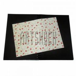 Тканевая бумага на клеевой основе (Fabric Sticker), красные розы на светло-жёлтом фоне, 210 х 295 мм.