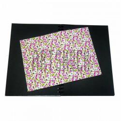 Тканевая бумага на клеевой основе (Fabric Sticker), розовые ромашки на белом фоне, 210 х 295 мм.