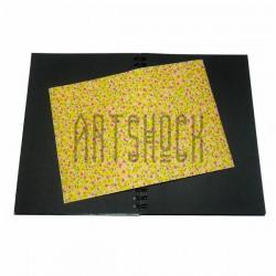 Тканевая бумага на клеевой основе (Fabric Sticker), розовые цветочки на жёлтом фоне, 210 х 295 мм.