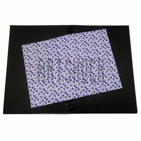Тканевая бумага на клеевой основе (Fabric Sticker), сиреневые сердца на белом фоне, 210 х 295 мм.