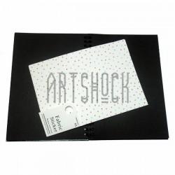 Тканевая бумага на клеевой основе (Fabric Sticker), горошек на белом фоне, 195 х 280 мм.