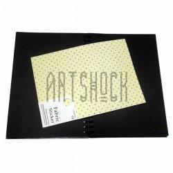 Тканевая бумага на клеевой основе (Fabric Sticker), горошек на жёлтом фоне, 195 х 280 мм.