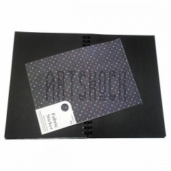Тканевая бумага на клеевой основе (Fabric Sticker), горошек на чёрном фоне, 195 х 280 мм.
