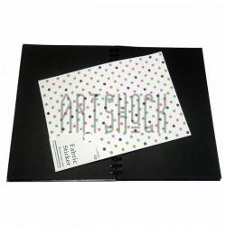 Тканевая бумага на клеевой основе (Fabric Sticker), крупный горошек на белом фоне, 195 х 280 мм.