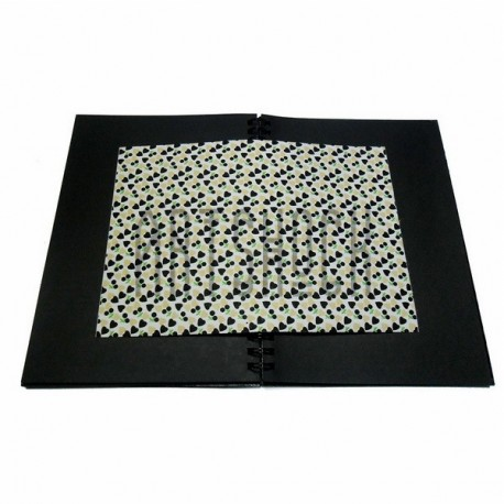 Тканевая бумага на клеевой основе (Fabric Sticker), чёрные сердца на белом фоне, 210 х 295 мм.