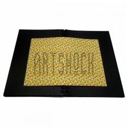 Тканевая бумага на клеевой основе (Fabric Sticker), жёлтые сердца на белом фоне, 210 х 295 мм.