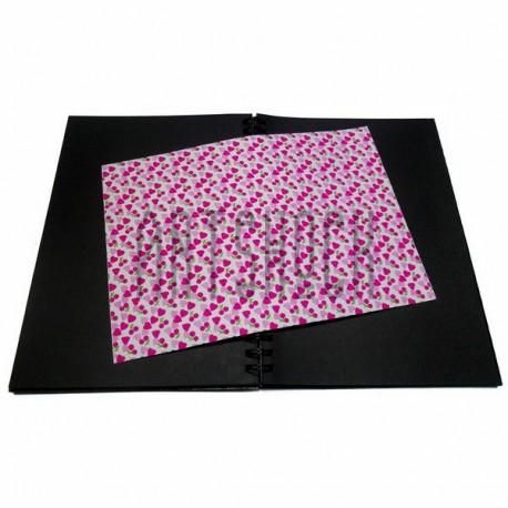 Тканевая бумага на клеевой основе (Fabric Sticker), малиновые сердца на белом фоне, 210 х 295 мм.
