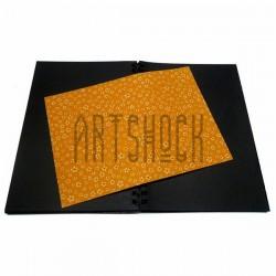 Тканевая бумага на клеевой основе (Fabric Sticker), белая ромашка на оранжевом фоне, 210 х 295 мм.