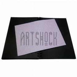 Тканевая бумага на клеевой основе (Fabric Sticker), белая ромашка на сиреневом фоне, 210 х 295 мм.