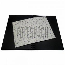 Тканевая бумага на клеевой основе (Fabric Sticker), сиреневые розы на светло - желтом фоне, 210 х 295 мм.
