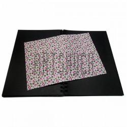 Тканевая бумага на клеевой основе (Fabric Sticker), розовые цветочки на белом фоне, 210 х 295 мм.
