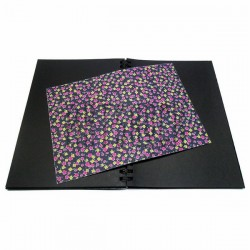 Тканевая бумага на клеевой основе (Fabric Sticker), цветочки на чёрном фоне, 210 х 295 мм.