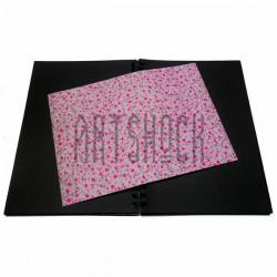 Тканевая бумага на клеевой основе (Fabric Sticker), розовые цветочки на розовом фоне, 210 х 295 мм.