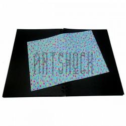 Тканевая бумага на клеевой основе (Fabric Sticker), розовые и жёлтые цветочки на голубом фоне, 210 х 295 мм.