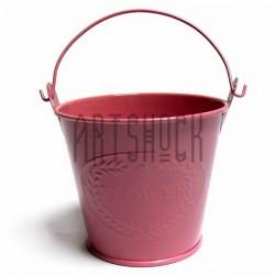 """Заготовка металлическая оцинкованная цветная """"Ведро с надписью"""", розовое, Maries"""