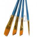 Набор кистей синтетических (2 скошенных, 1 плоская, 1 круглая), медная цанга