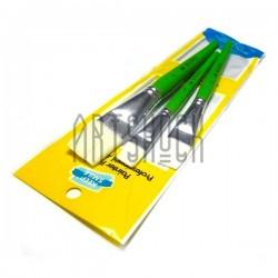Набор кистей синтетических (3 плоские), алюминиевая цанга