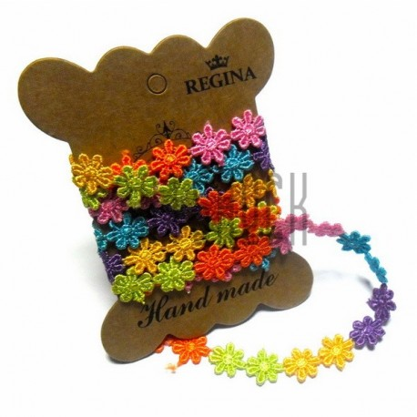 Тесьма декоративная Ромашка цветная, толщина - 1.3 см., длина - 1 м., REGINA