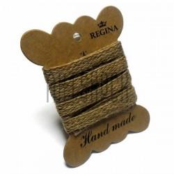 Джутовая тесьма (веревка шпагат), плетеная натуральная пеньковая, ширина - 1 см., толщина - 1 мм., длина - 1 м., REGINA