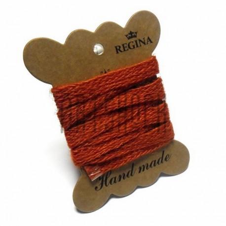 Джутовая тесьма (веревка шпагат), плетеная натуральная оранжевая, ширина - 1 см., толщина - 1 мм., длина - 1 м., REGINA