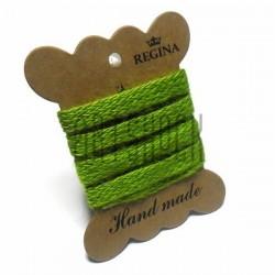 Джутовая тесьма (веревка шпагат), плетеная натуральная салатовая, ширина - 1 см., толщина - 1 мм., длина - 1 м., REGINA