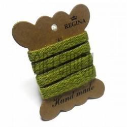 Джутовая тесьма (веревка шпагат), плетеная натуральная зеленая, ширина - 1 см., толщина - 1 мм., длина - 1 м., REGINA