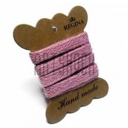 Джутовая тесьма (веревка шпагат), плетеная натуральная розовая, ширина - 1 см., толщина - 1 мм., длина - 1 м., REGINA