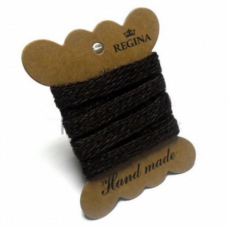 Джутовая тесьма (веревка шпагат), плетеная натуральная коричневая, ширина - 1 см., толщина - 1 мм., длина - 1 м., REGINA