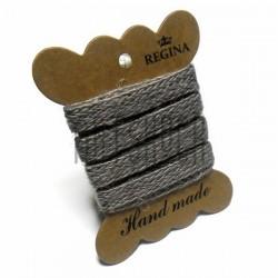 Джутовая тесьма (веревка шпагат), плетеная натуральная серая, ширина - 1 см., толщина - 1 мм., длина - 1 м., REGINA