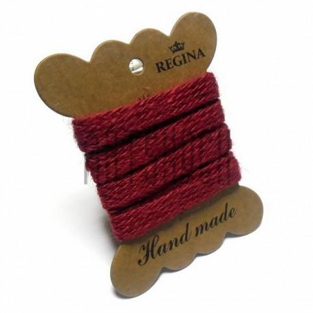 Джутовая тесьма (веревка шпагат), плетеная натуральная красная, ширина - 1 см., толщина - 1 мм., длина - 1 м., REGINA
