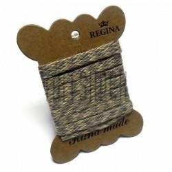 Джутовая тесьма (веревка шпагат), плетеная натуральная желто - серая, ширина - 0.8 см., толщина - 1 мм., длина - 1 м., REGINA