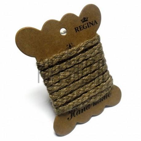 Джутовая тесьма (веревка шпагат), плетеная натуральная пеньковая, ширина - 0.6 см., толщина - 2 мм., длина - 1 м., REGINA