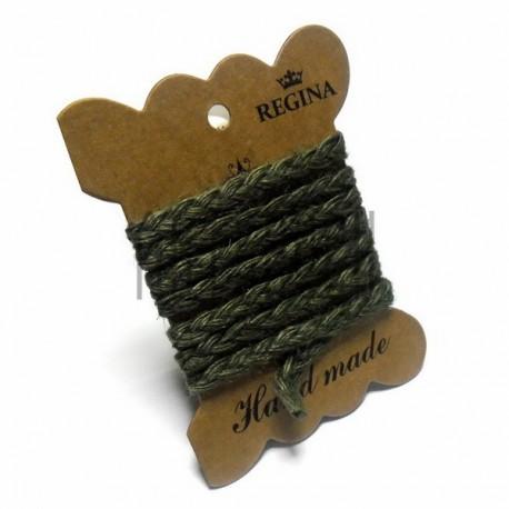 Джутовая тесьма (веревка шпагат), плетеная натуральная болотная, ширина - 0.6 см., толщина - 2 мм., длина - 1 м., REGINA