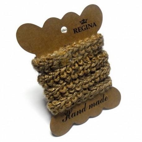 Джутовая тесьма (веревка шпагат), плетеная натуральная пеньковая, ширина - 1.4 см., толщина - 4 мм., длина - 1 м., REGINA