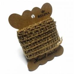 Джутовая сетка (лента из джута), плетеная натуральная пеньковая, ширина - 4 см., толщина - 2 мм., длина - 1 м., REGINA