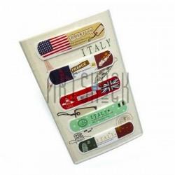 """Набор дизайнерского пластыря """"Italy, England, France, America"""", 5 штук, Popular Fashion"""