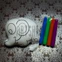 """Игрушка - раскраска """"Слоник"""" моющаяся + набор фломастеров 4 цвета, 12 x 10 см., Enjoy"""