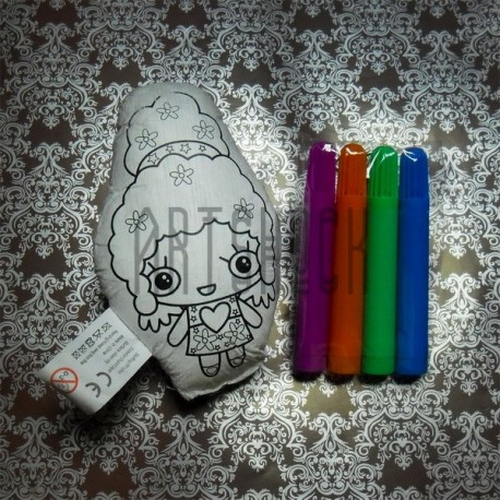 """Игрушка - раскраска """"Девочка в парике"""" моющаяся + набор фломастеров 4 цвета, 13 x 8 см., Enjoy"""