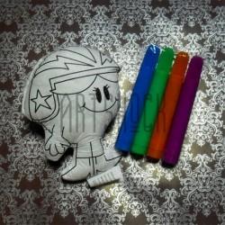 """Игрушка - раскраска """"Гонщик"""" моющаяся + набор фломастеров 4 цвета, 9 x 11.5 см., Enjoy"""