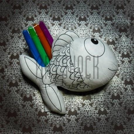 """Игрушка - раскраска """"Рыбка"""" моющаяся + набор фломастеров 4 цвета, 17 x 13 см., Enjoy"""