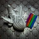 """Игрушка - раскраска """"Самолёт"""" моющаяся + набор фломастеров 4 цвета, 17 x 10 см., Enjoy"""