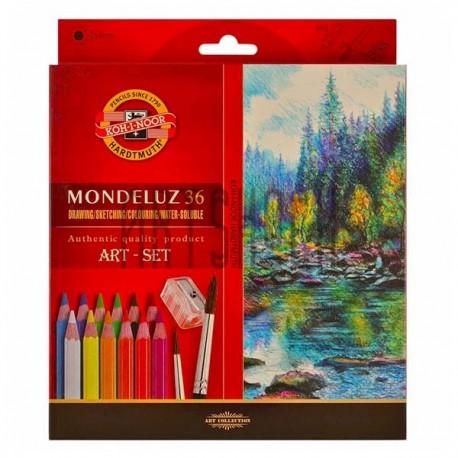 Набор карандашей Mondeluz, 36 цв. + кисть + точилка, Koh-i-noor