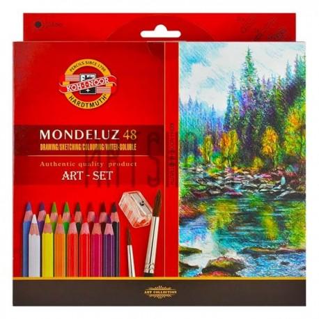 Набор карандашей Mondeluz, 48 цв. + кисть + точилка, Koh-i-noor