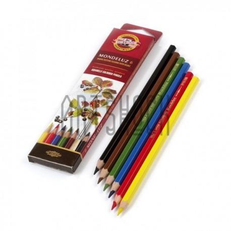 Набор акварельных карандашей Mondeluz, 6 цв. + кисть, Koh-i-noor