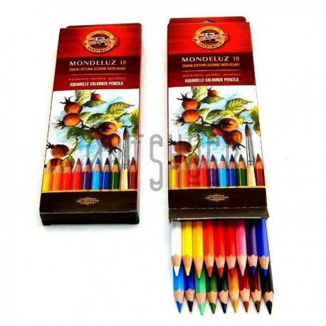 Набор акварельных карандашей Mondeluz, 18 цв. + кисть, Koh-i-noor