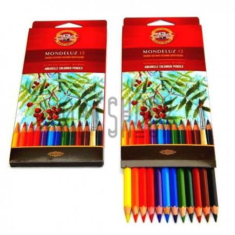Набор акварельных карандашей Mondeluz, 12 цв. + кисть, Koh-i-noor