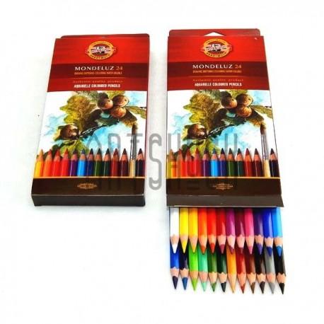 Набор карандашей Mondeluz, 24 цв. + кисть, Koh-i-noor